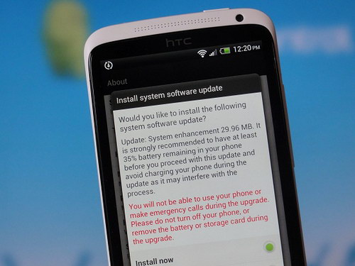 HTC One X update install