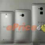 De HTC One Max (rechts) naast de HTC One (midden) en One Mini (links)